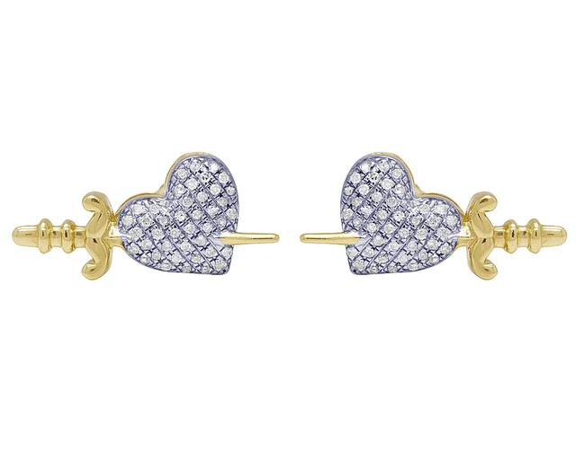 Item - 14k Yellow Gold Heart Sword Stud 9mm 0.21ct Earrings