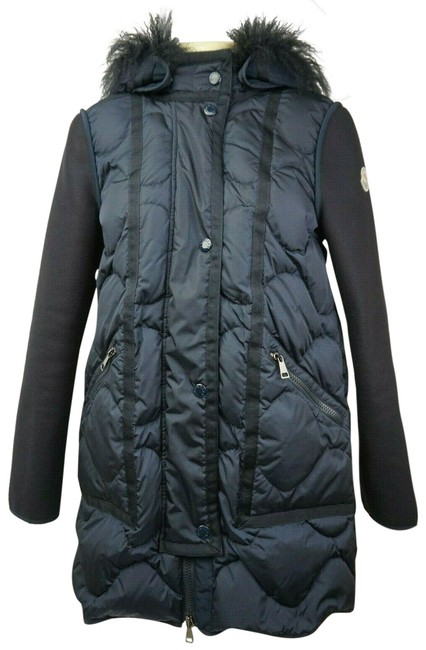 Item - Blue Women's Navy Theodora Quilted Puffer Shearling Hood Coat Size 2 (XS)