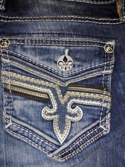 """Item - Blue Distressed Embellished """"lam""""mid Rise Straight Leg Jeans Size 2 (XS, 26)"""