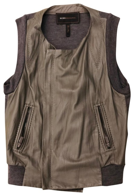 Item - Gray Leather Wool Vest Size 4 (S)