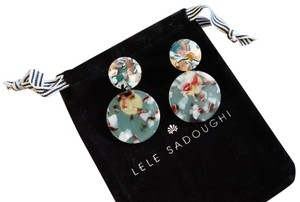 Lele Sadoughi Lele Sadoughi Blue Round Resin Earrings