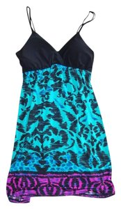 Kiwi short dress black, purple, teal on Tradesy