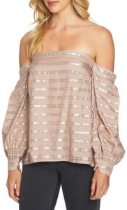 1.STATE Off The Shoulder Bold Stripe Metallic Longsleeve Elastic Top Taupe and Silver