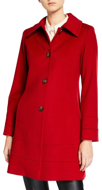 Item - Red Banded Fit & Flare Wool Top Coat Size 2 (XS)