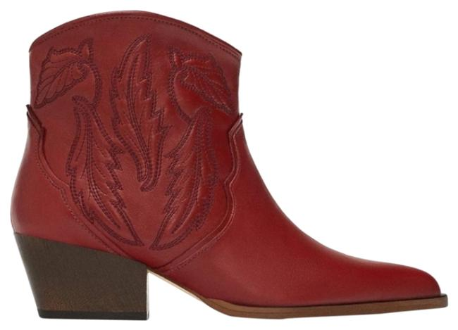 Item - Red Emborided Leather Cowboy Ankle Boots/Booties Size US 8 Regular (M, B)