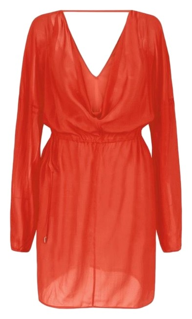 Item - Poppy Red Silk Stretch Draped Short Casual Dress Size 2 (XS)