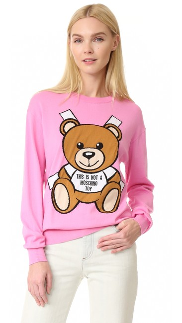 Item - Multicolor Couture Bear Print Pink Sweater
