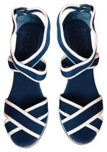 Tory Burch navy white Wedges