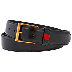 Gucci Men's Leather Belt with Red/Green Web- Size 100 Made in Italy