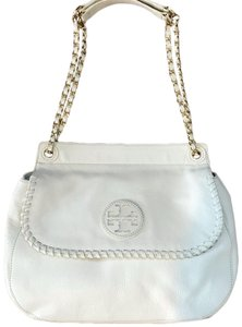 Tory Burch Leather Satchel in White