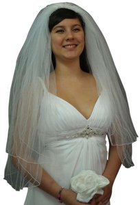 White Medium Fingertip Length Two Tier Bridal Veil