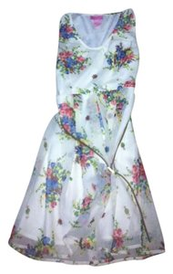 She's cool short dress white with flowers Summer Summer Mini Flowy Girly Sleeveless on Tradesy