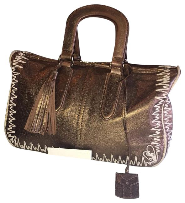 Item - Embroidered Bronze Leather Satchel