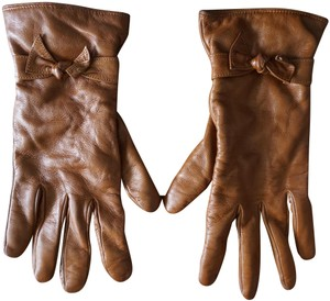 Bergdorf Goodman Bergdorf Goodman Brown Leather Cashmere Lined Ladies Gloves 7 1/2 Bow