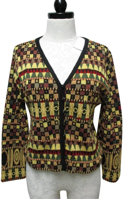 French Rags Black Green Yellow Red Button Sweater Small Sm S Cardigan Size 6 (S) French Rags Black Green Yellow Red Button Sweater Small Sm S Cardigan Size 6 (S) Image 1