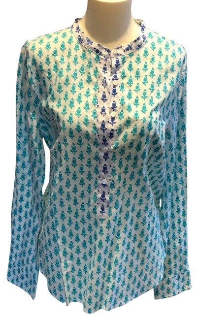 Item - Green and Blue Cotton Floral Print Popover Button-down Top Size 10 (M)