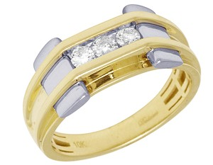 Jewelry Unlimited Mens Two Tone Gold Channel Set Pinky Ring 10MM 0.33CT