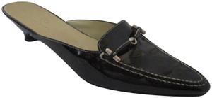 Cole Haan Silver Hardware Pointed Toe Chartreuse Slides Black Mules