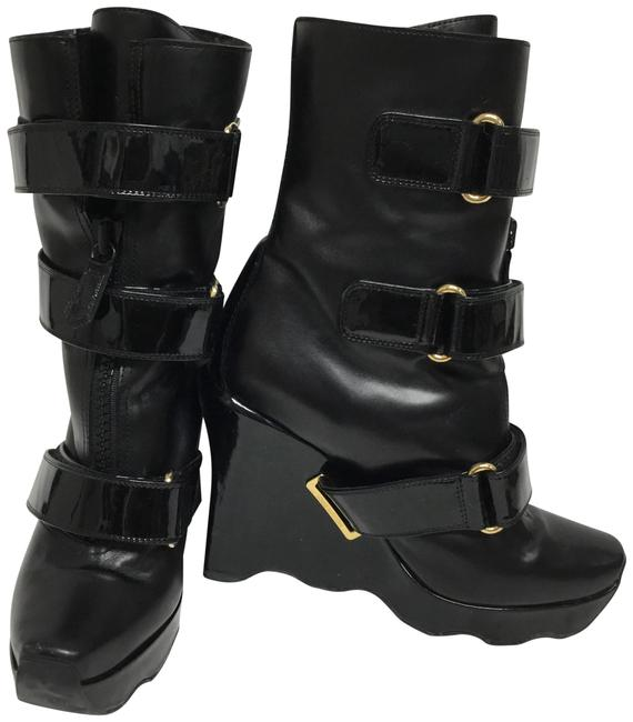 Item - Black Wedge Shearling Lined with Velcro Straps Boots/Booties Size EU 38 (Approx. US 8) Regular (M, B)