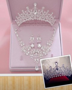 Rhinestone Crown Necklace and Earring Set Tiara
