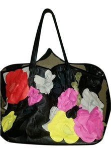 Valentino Napa Leather Flowers Tote in black