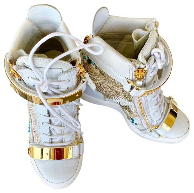 Item - White Gold Embroidered Dragon Details Wedge High Top Off Sneakers Size US 5.5 Regular (M, B)