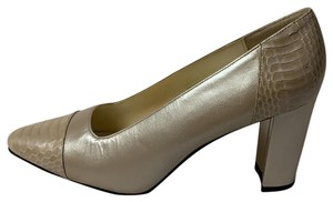 Corsina Leather Elegant Conseration Two Toned Beige Pumps