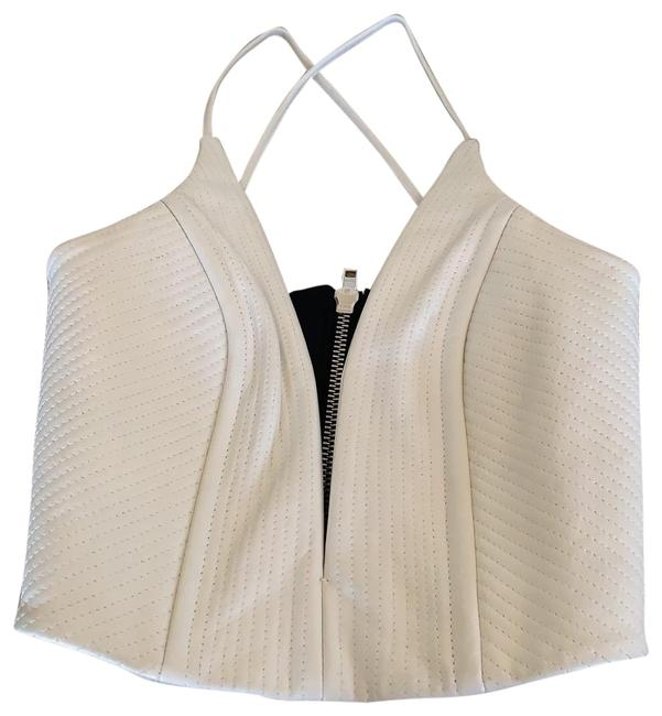 Item - Leather Deep Plunge White and Black Top