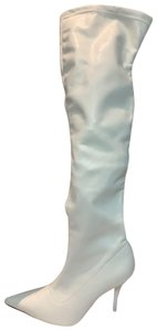 Anne Michelle Thigh High Stretchy White Boots