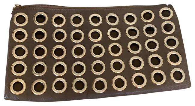 Item - With Ring Details Brown Leather Clutch