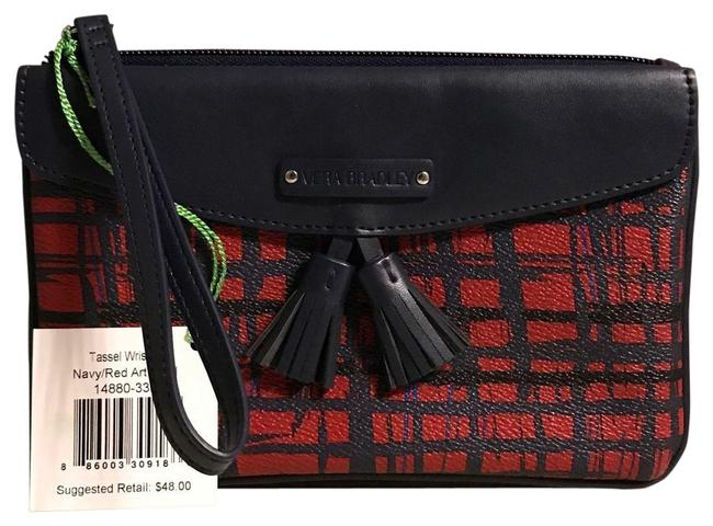 Item - Tassel Navy/Red Navy/Red Art Plaid Faux Leather Wristlet