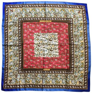 Hermès Hermes Multi-Color Blue 100% Silk Chasse en India Square Scarf SALE!
