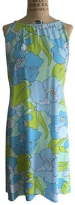 J.McLaughlin short dress Light blue with lime green/black accents on Tradesy