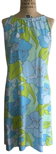 Item - Light Blue with Lime Green/Black Accents Style Name/Number Is Not Available Mid-length Short Casual Dress Size 8 (M)