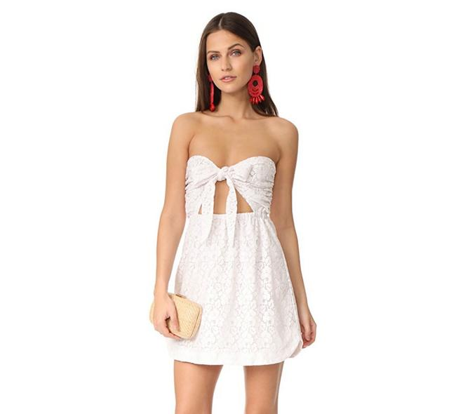 Item - White Lace Strapless Short Casual Dress Size 8 (M)
