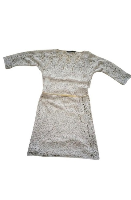 Item - Cream Lace Above Knee Mid-length Cocktail Dress Size 4 (S)