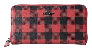 Coach Coach Accordion Zip Wallet With Gingham Print