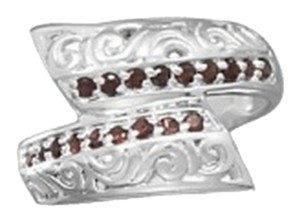 unknown Sterling Silver Polished Overlap Garnet Ring