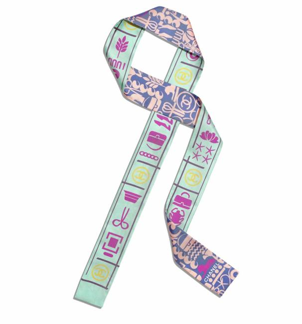 Chanel Green and Pink Aa0377 Bandeau Scarf/Wrap Chanel Green and Pink Aa0377 Bandeau Scarf/Wrap Image 1