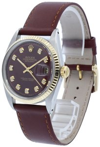 Rolex ROLEX OYSTER PERPETUAL DATEJUST STAINLESS STEEL & GOLD BURGUNDY DIAL 3