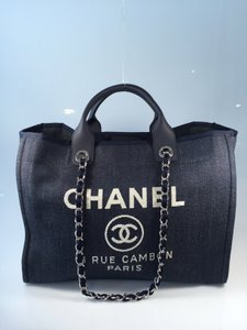 Chanel Deauville Denim Large Tote in Dark Blue
