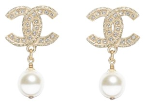 Chanel classic pearly white crystal earrings