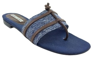 Manolo Blahnik Leather Denim Blue Sandals