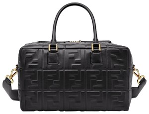 Fendi Ff Logo Boston Small Boston Logo Satchel in Black
