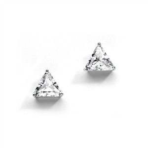 Mariell Cubic Zirconia Trillion Solitaire Stud Earrings 4287e