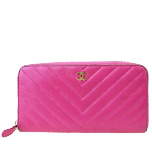Chanel Authentic CHANEL CC V Stitch Long Bifold Wallet Purse Leather Pink