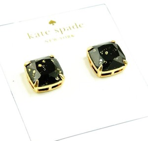 Kate Spade NEW Kate Spade Black with Gold Glitter Specks Square Stud Earrings 12k
