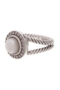 David Yurman David Yurman Pearl & Diamond Cerise Ring - Silver Size 5.5