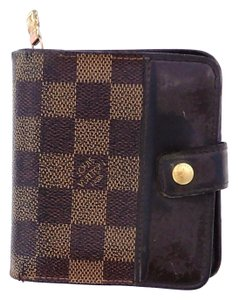 Louis Vuitton Damier Canvas Leather Bifold Compact Zippy Snap Wallet Spain