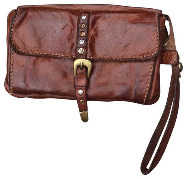 Item - Cognac Brown Flat Pouch with Wrist Strap In Leather Wallet